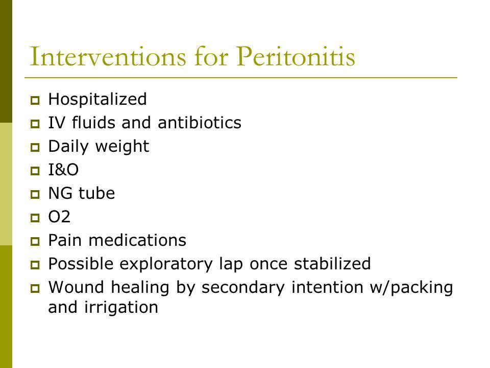 Interventions for Peritonitis