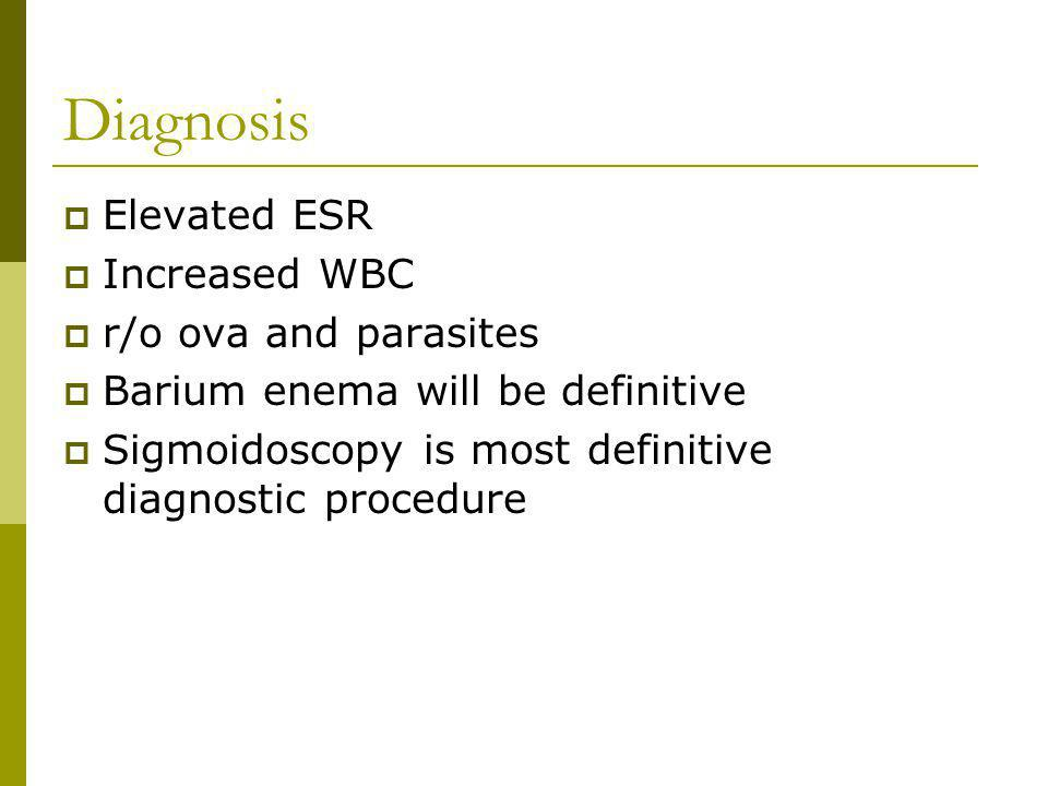 Diagnosis Elevated ESR Increased WBC r/o ova and parasites