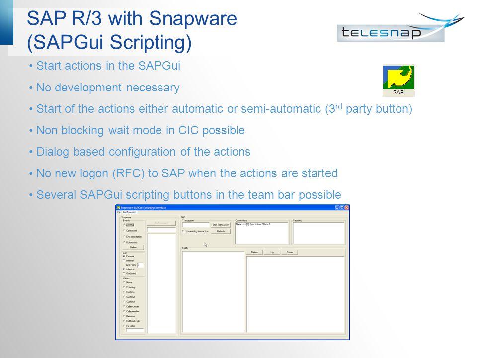 SAP R/3 with Snapware (SAPGui Scripting)
