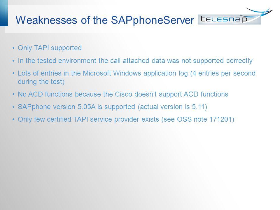 Weaknesses of the SAPphoneServer