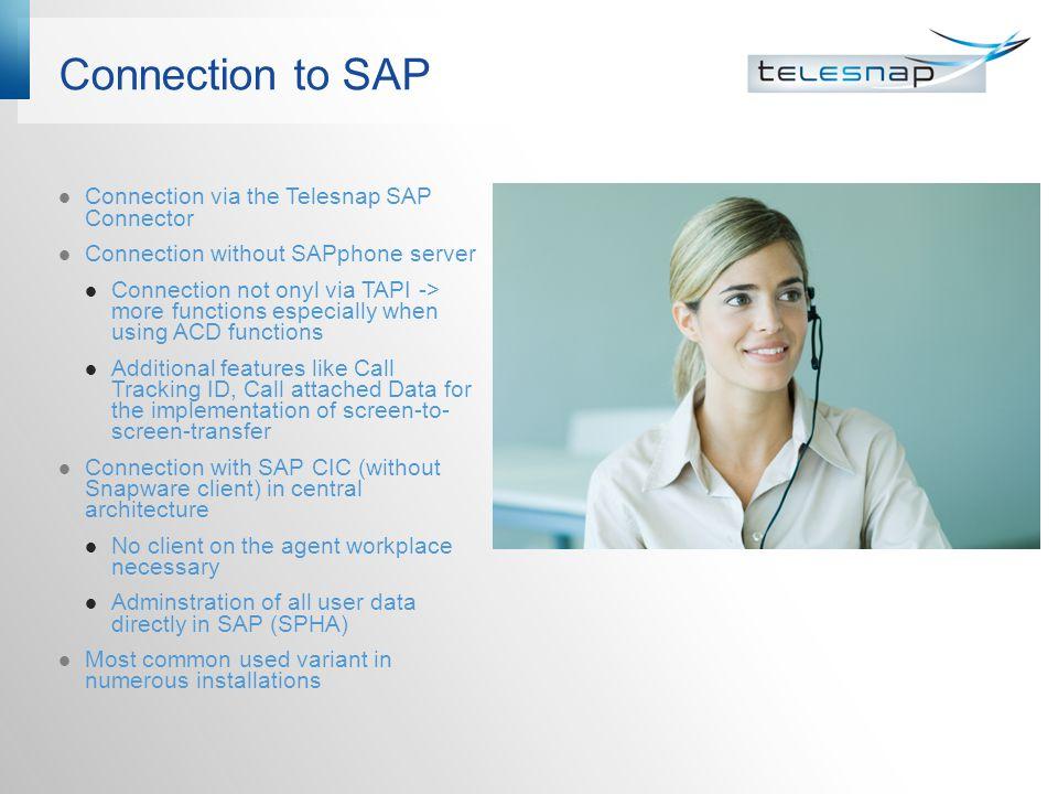 Connection to SAP Connection via the Telesnap SAP Connector