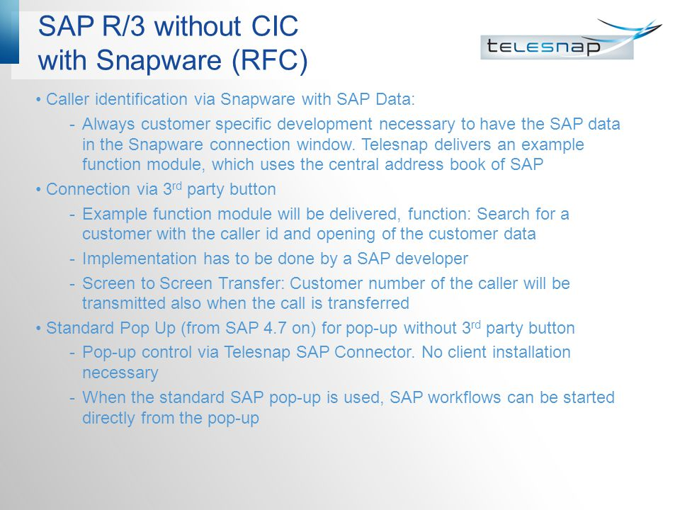 SAP R/3 without CIC with Snapware (RFC)