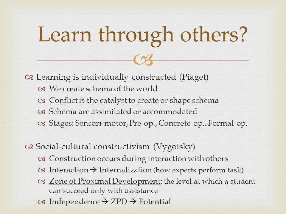Learn through others Learning is individually constructed (Piaget)