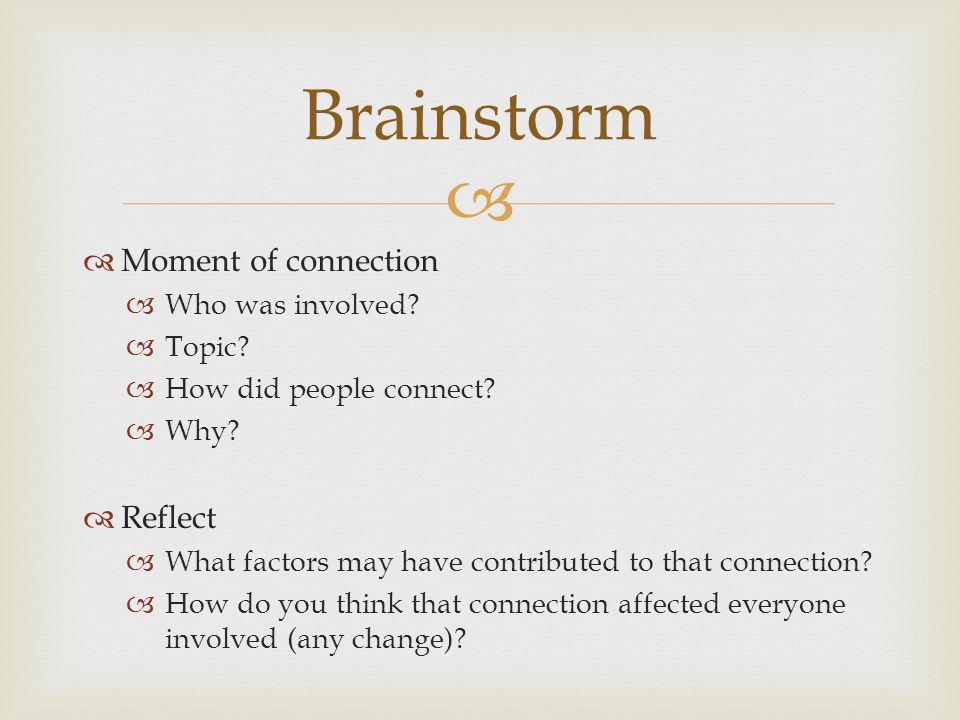 Brainstorm Moment of connection Reflect Who was involved Topic