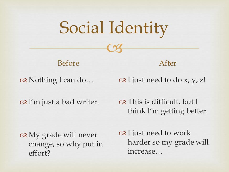Social Identity Before After Nothing I can do… I'm just a bad writer.