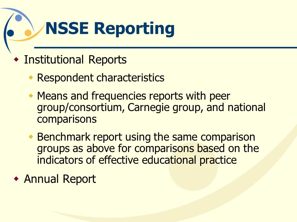 NSSE Reporting Institutional Reports Annual Report