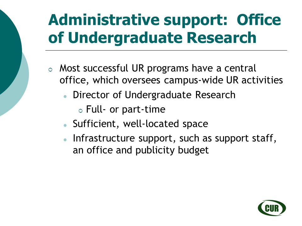 Administrative support: Office of Undergraduate Research