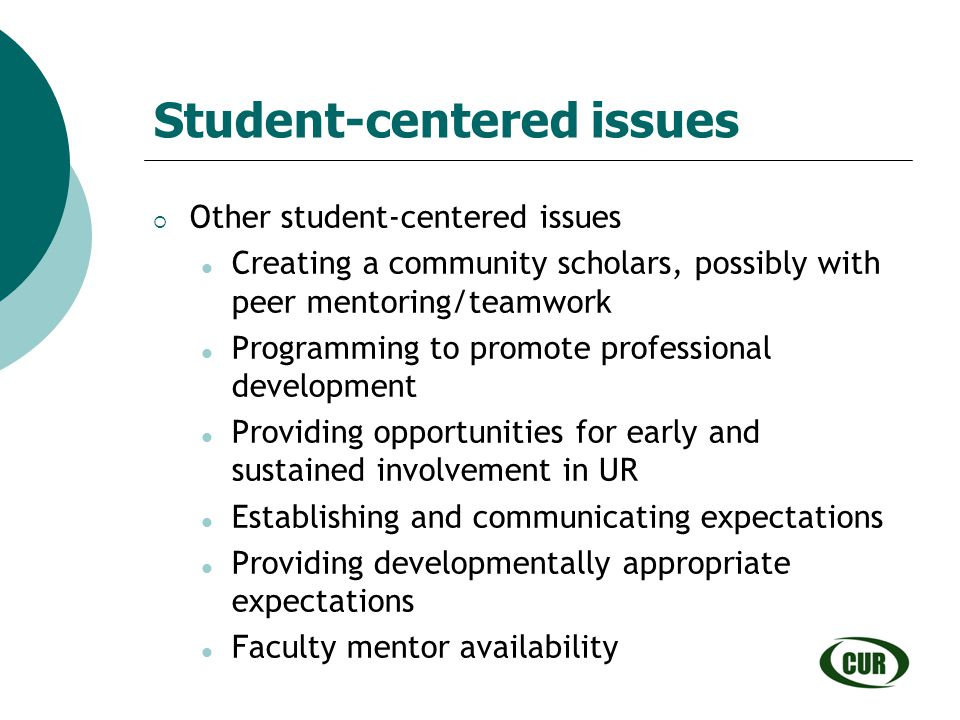 Student-centered issues