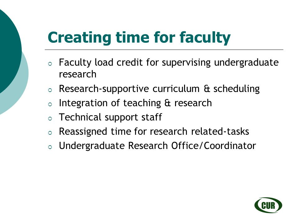 Creating time for faculty