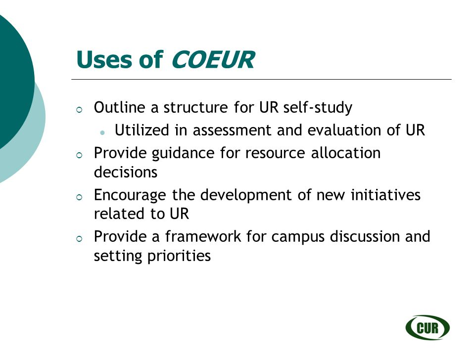 Uses of COEUR Outline a structure for UR self-study