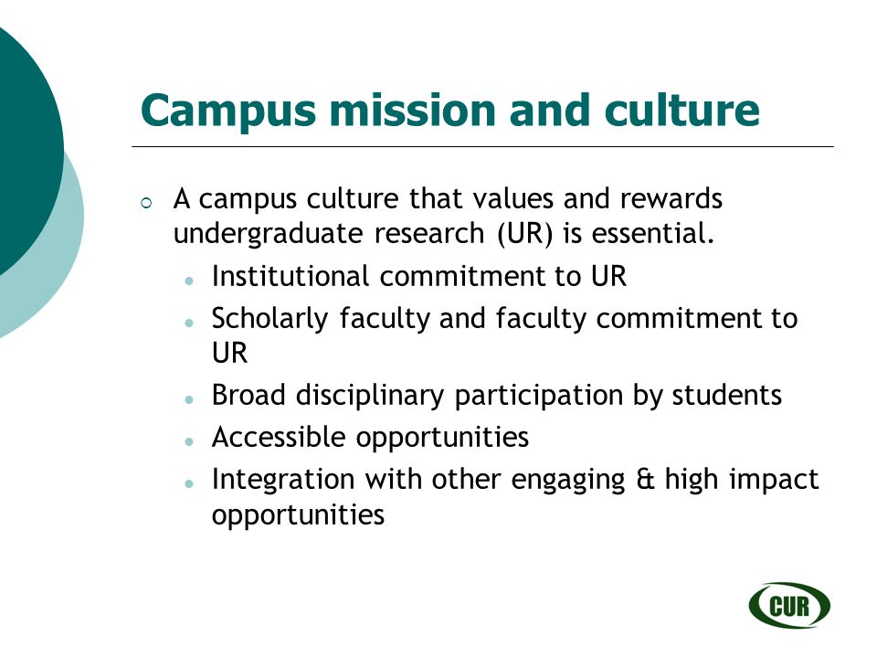 Campus mission and culture
