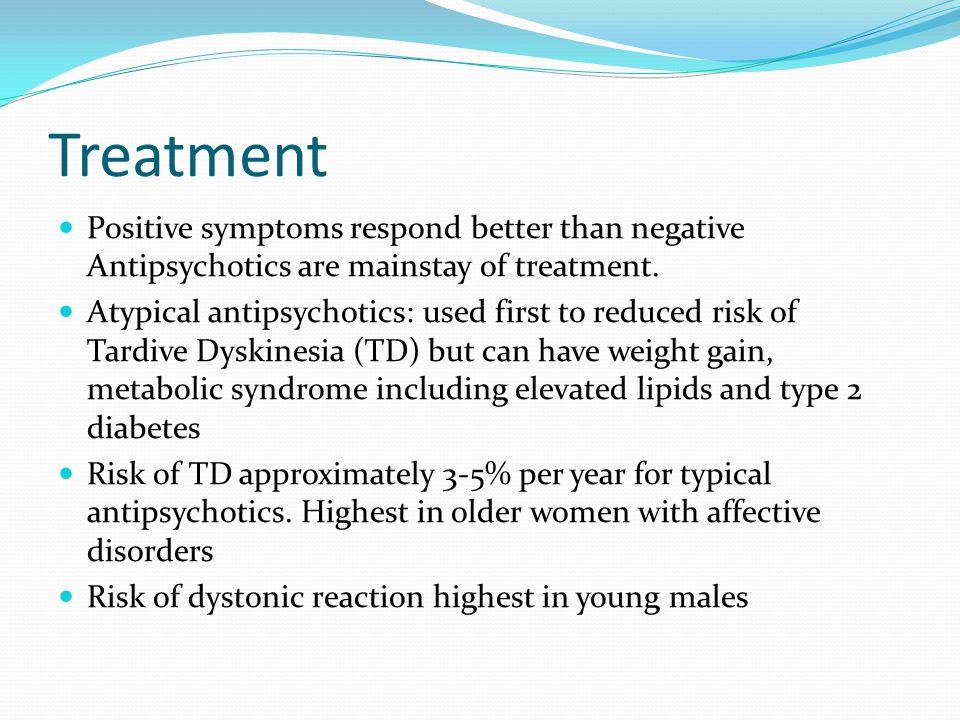 Treatment Positive symptoms respond better than negative Antipsychotics are mainstay of treatment.