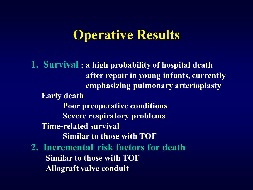 Operative Results 1. Survival ; a high probability of hospital death
