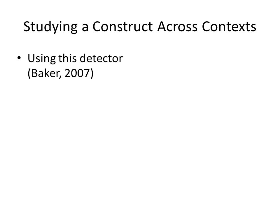 Studying a Construct Across Contexts