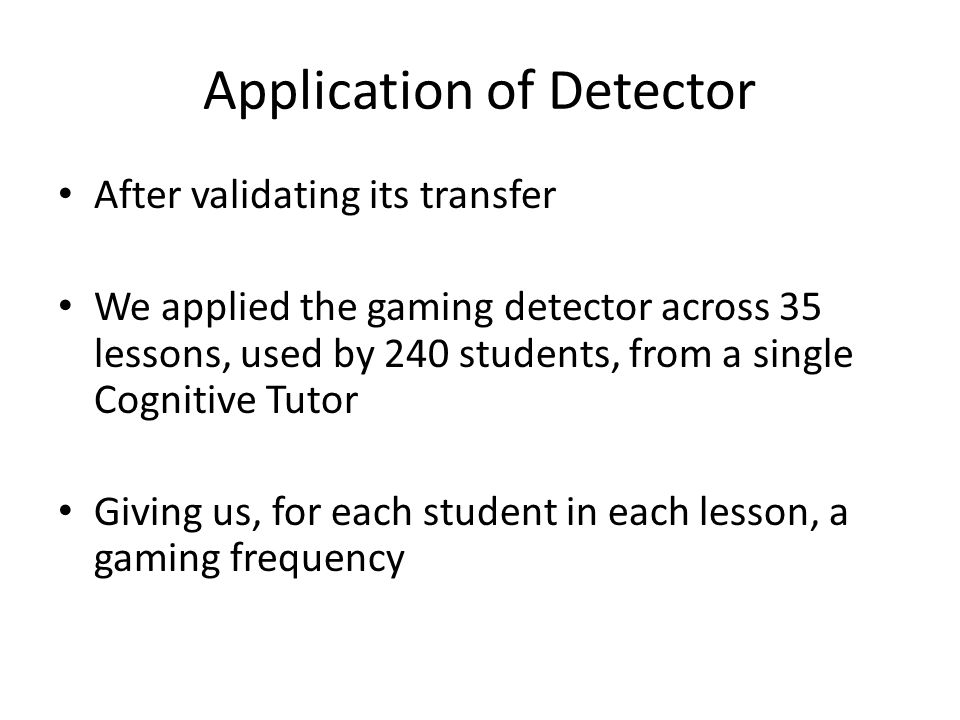 Application of Detector