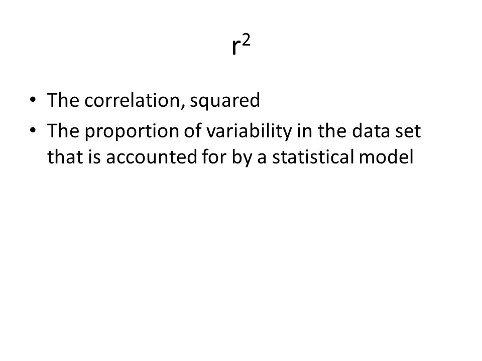 r2 The correlation, squared
