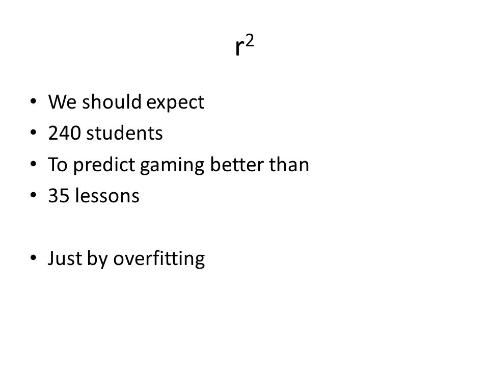 r2 We should expect 240 students To predict gaming better than
