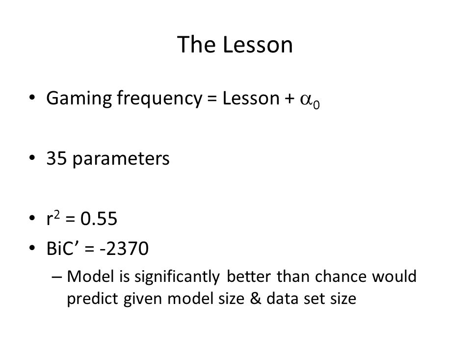 The Lesson Gaming frequency = Lesson + a0 35 parameters r2 = 0.55