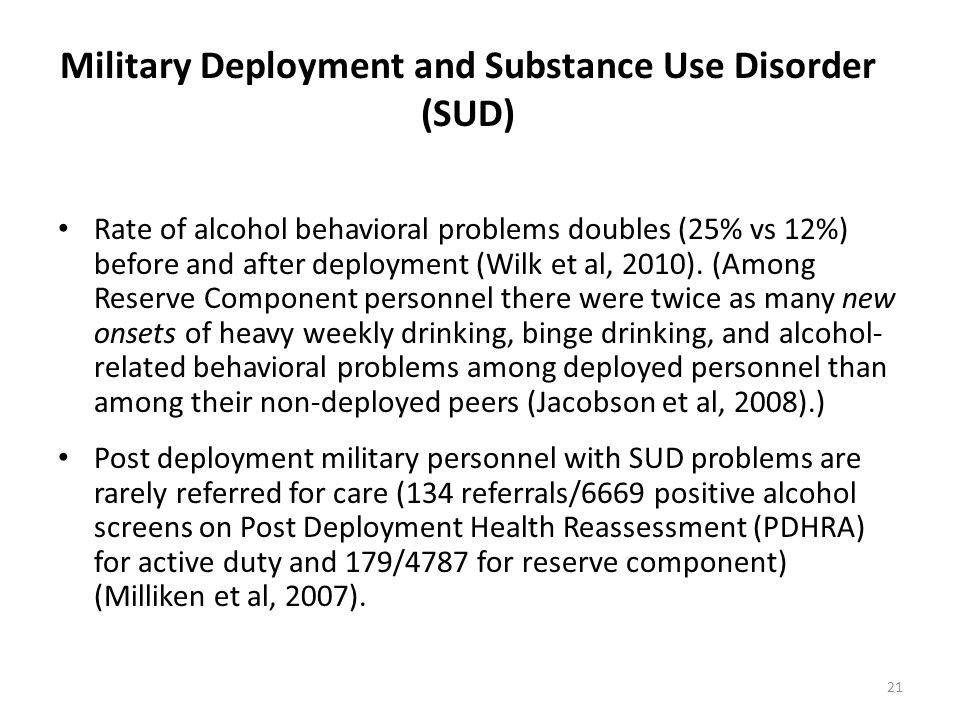 Military Deployment and Substance Use Disorder (SUD)