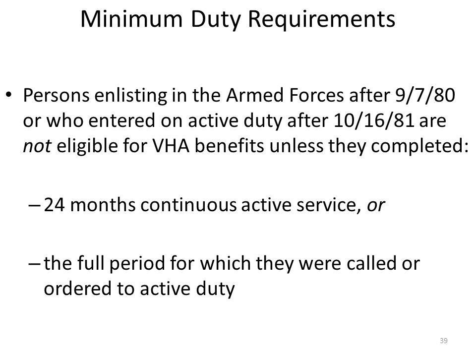 Minimum Duty Requirements