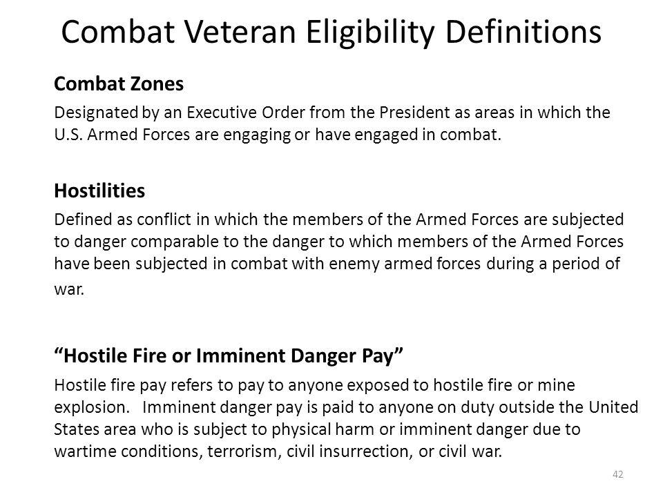 Combat Veteran Eligibility Definitions
