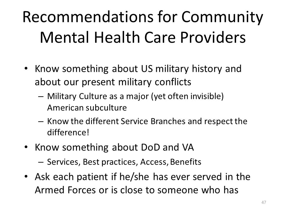 Recommendations for Community Mental Health Care Providers