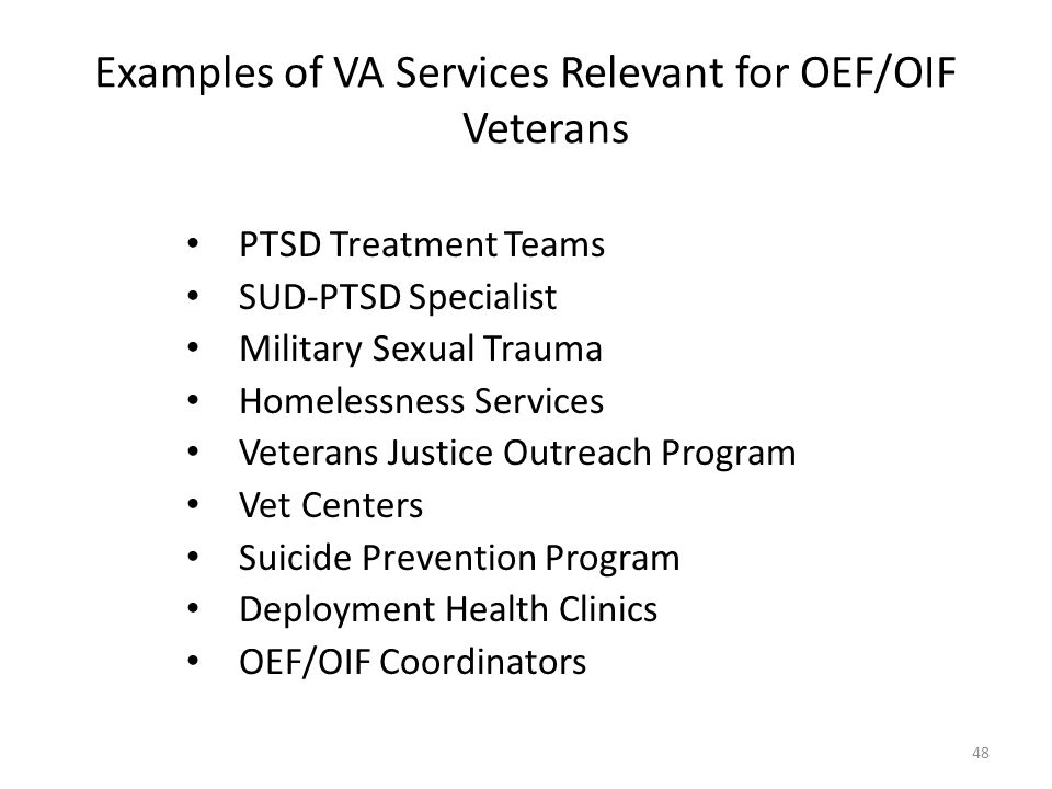 Examples of VA Services Relevant for OEF/OIF Veterans