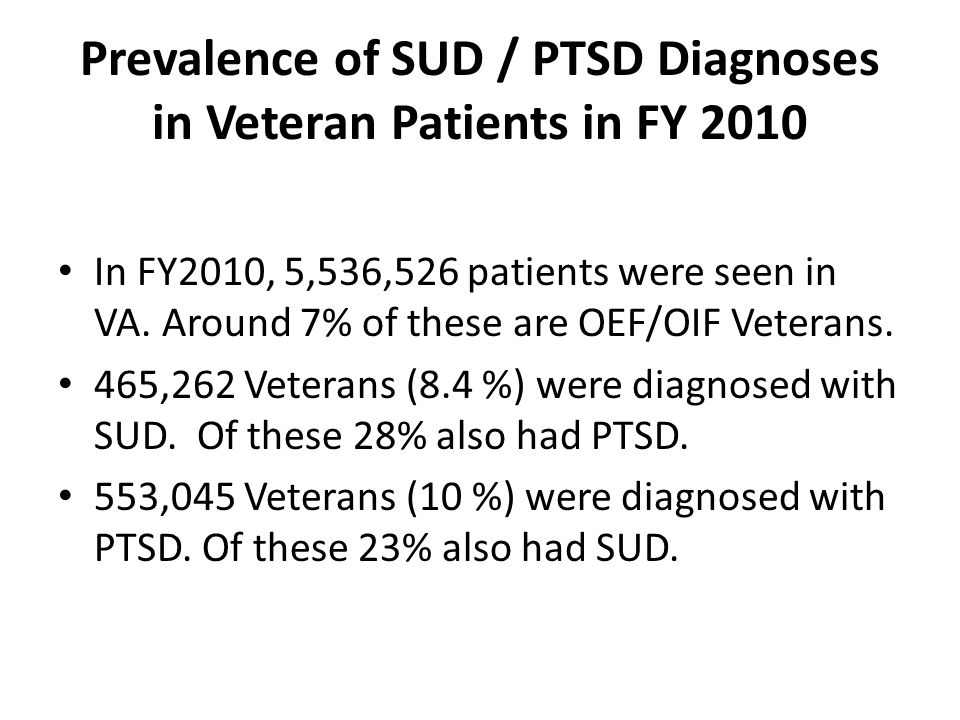 Prevalence of SUD / PTSD Diagnoses in Veteran Patients in FY 2010