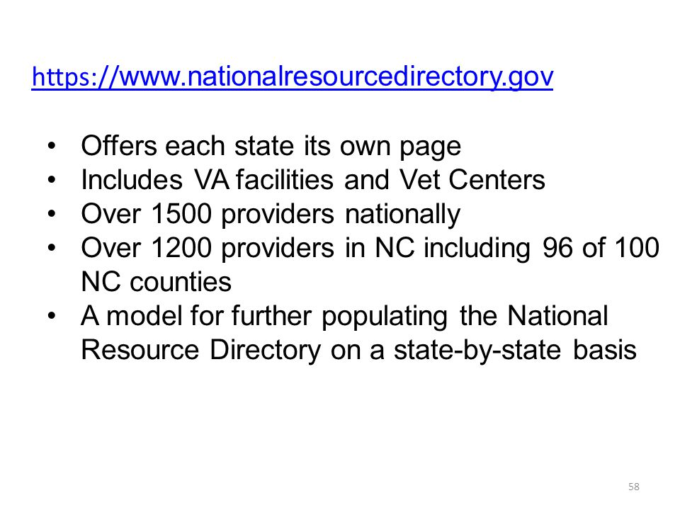 https://www.nationalresourcedirectory.gov Offers each state its own page. Includes VA facilities and Vet Centers.
