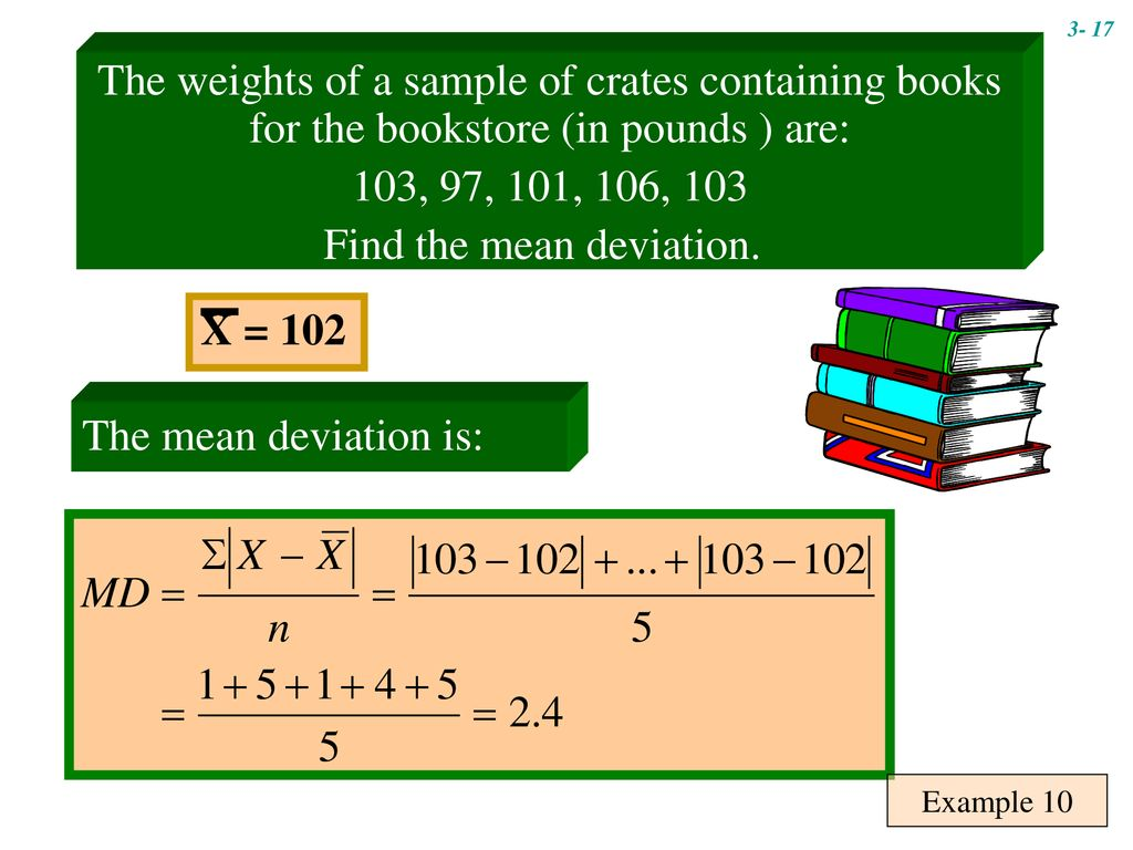 Find the mean deviation.