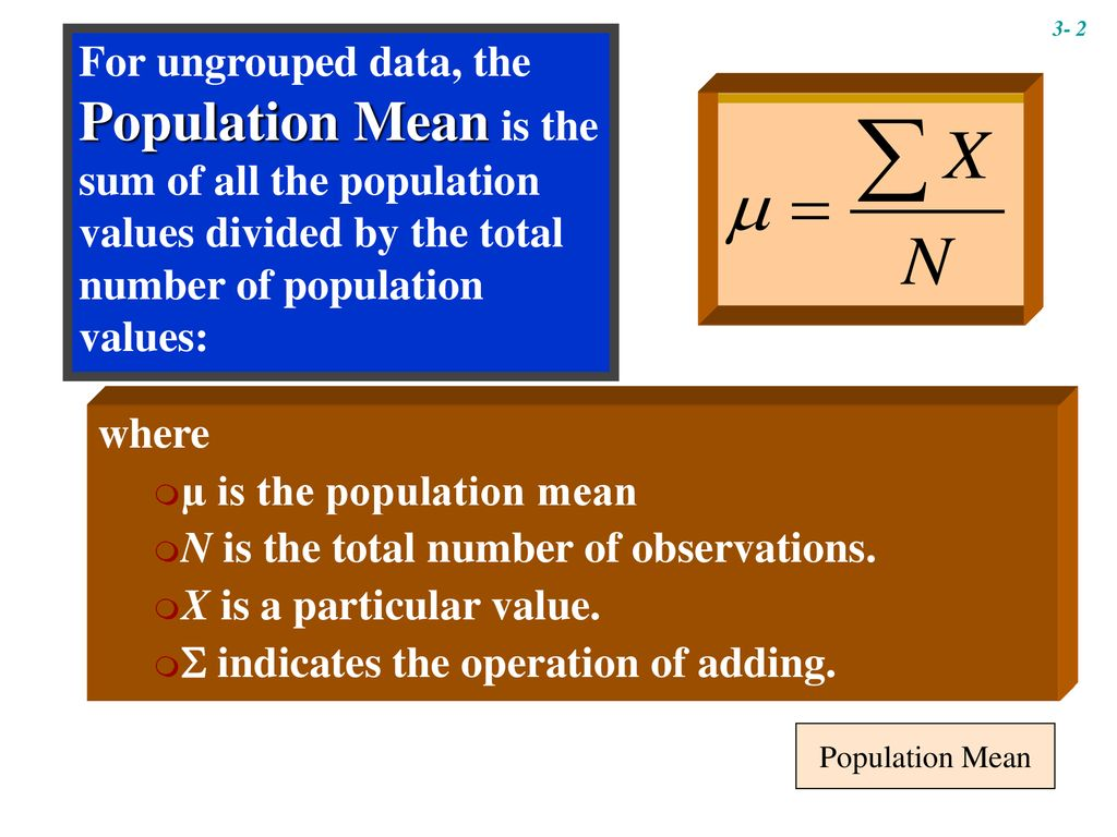 µ is the population mean N is the total number of observations.