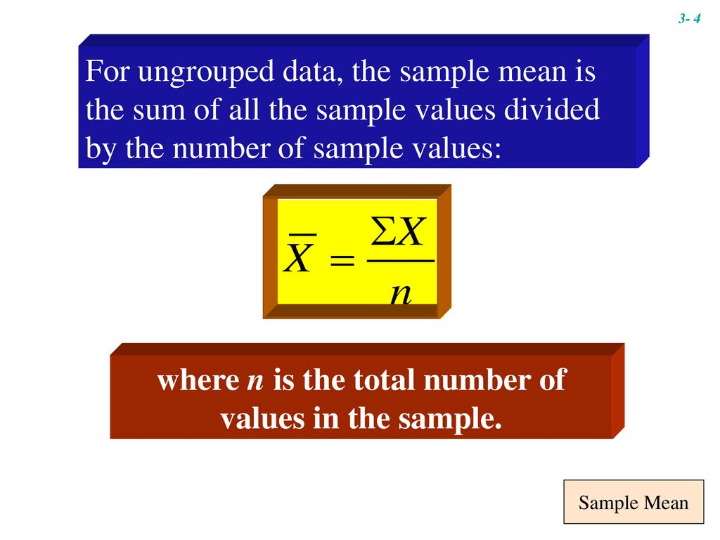 where n is the total number of values in the sample.