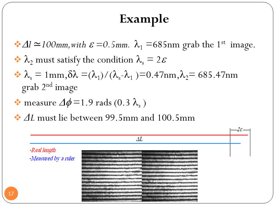 Example l ≃100mm,with  =0.5mm. 1 =685nm grab the 1st image.