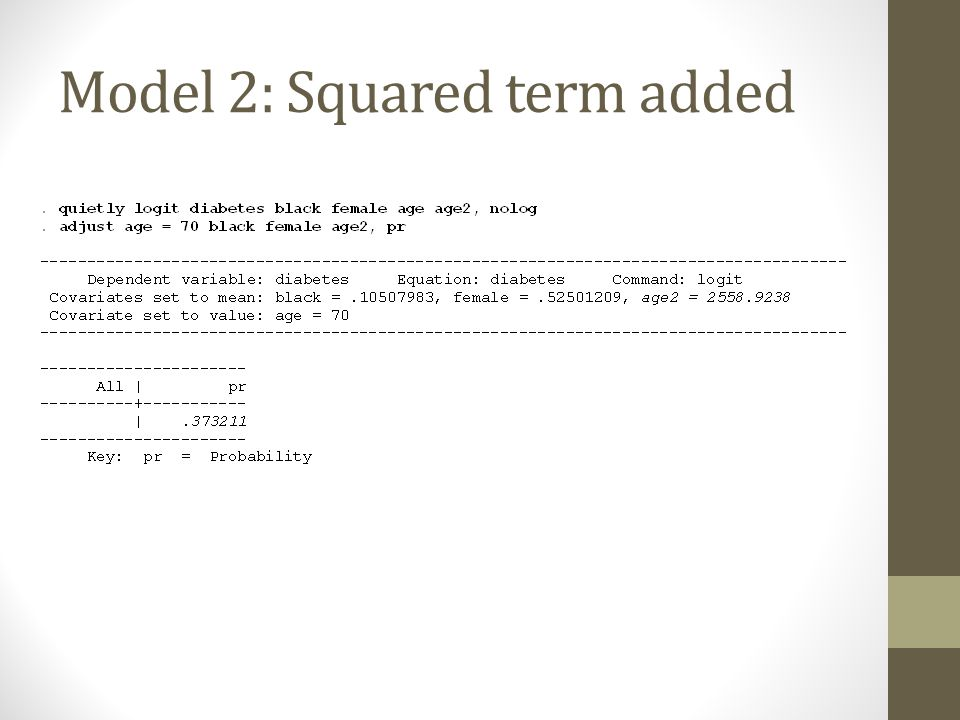 Model 2: Squared term added