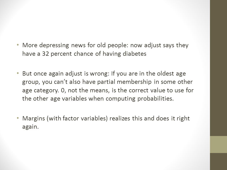 More depressing news for old people: now adjust says they have a 32 percent chance of having diabetes