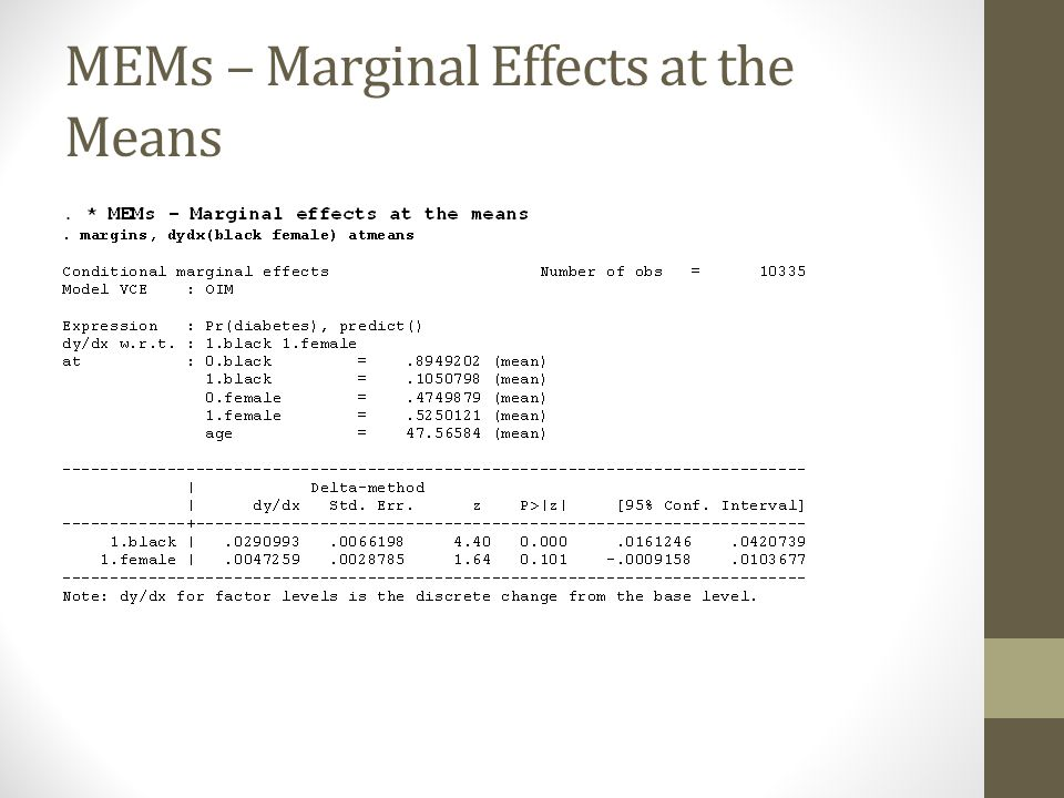 MEMs – Marginal Effects at the Means