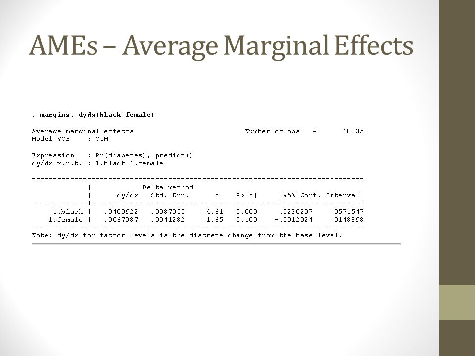 AMEs – Average Marginal Effects