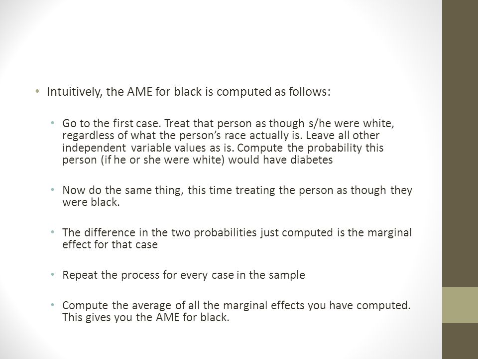 Intuitively, the AME for black is computed as follows: