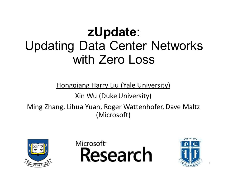 zUpdate: Updating Data Center Networks with Zero Loss