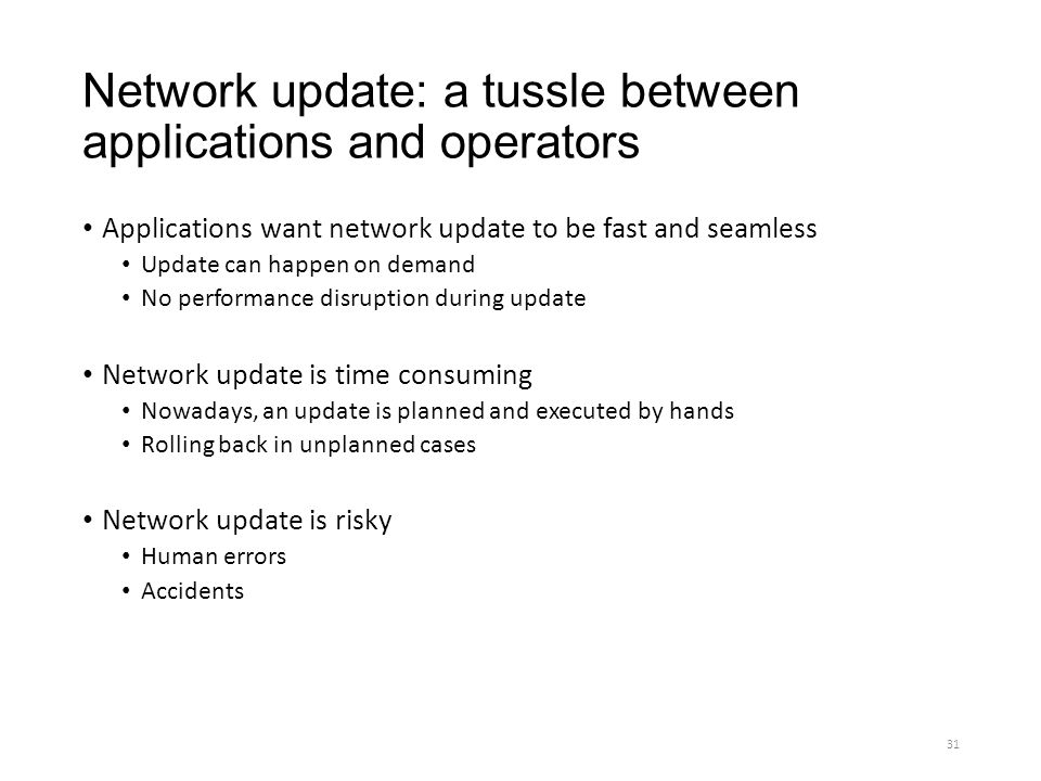 Network update: a tussle between applications and operators