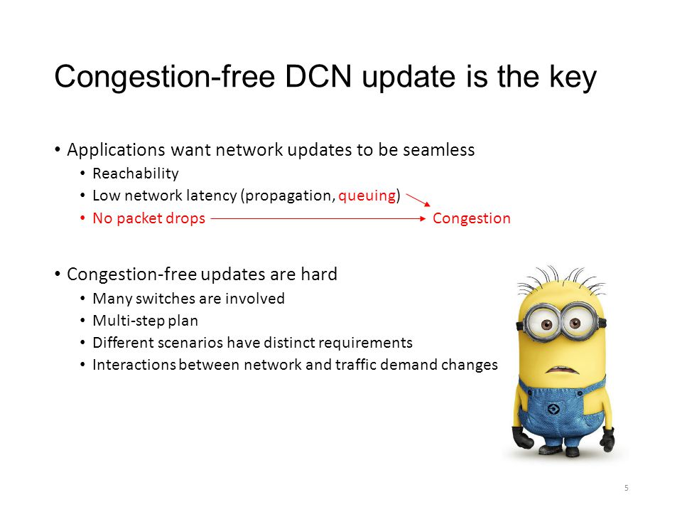 Congestion-free DCN update is the key