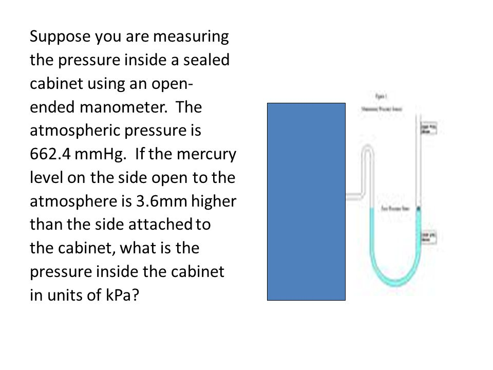 Suppose you are measuring the pressure inside a sealed cabinet using an open- ended manometer.