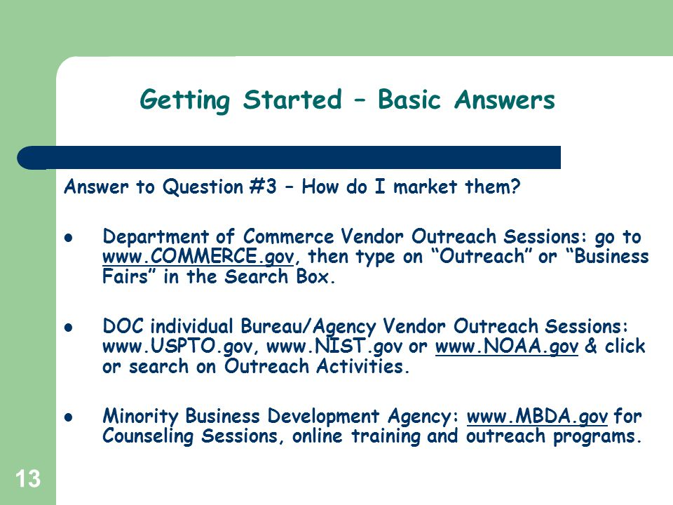 Getting Started – Basic Answers