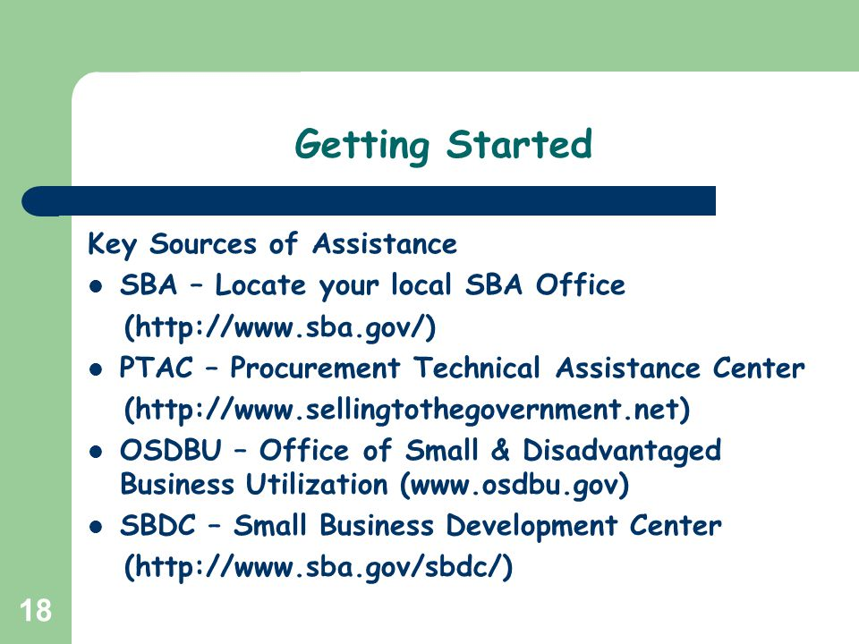 Getting Started Key Sources of Assistance