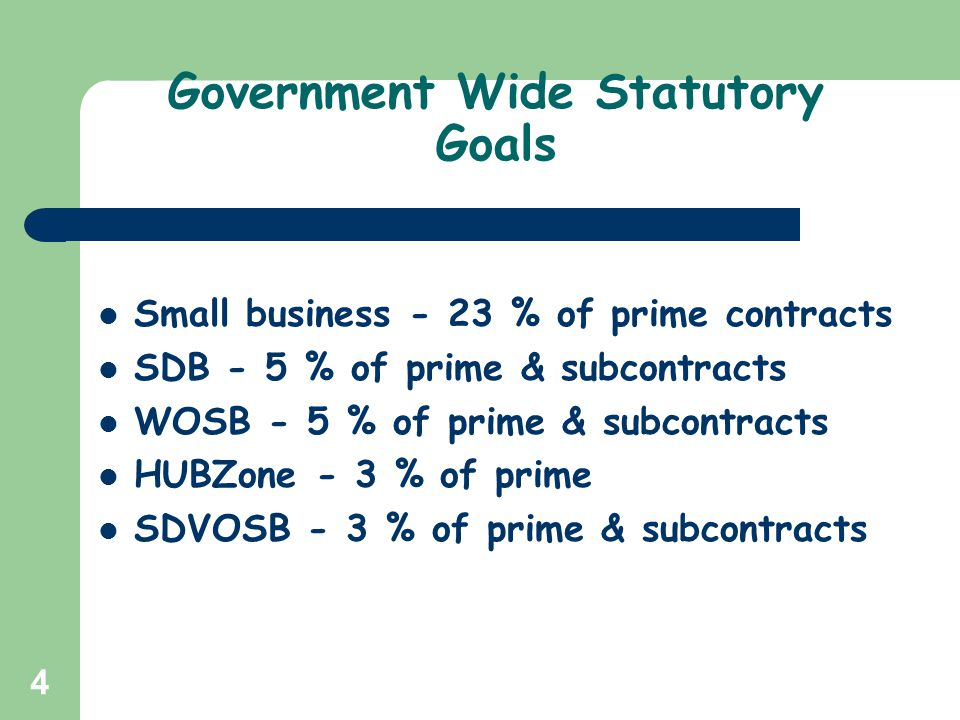 Government Wide Statutory Goals