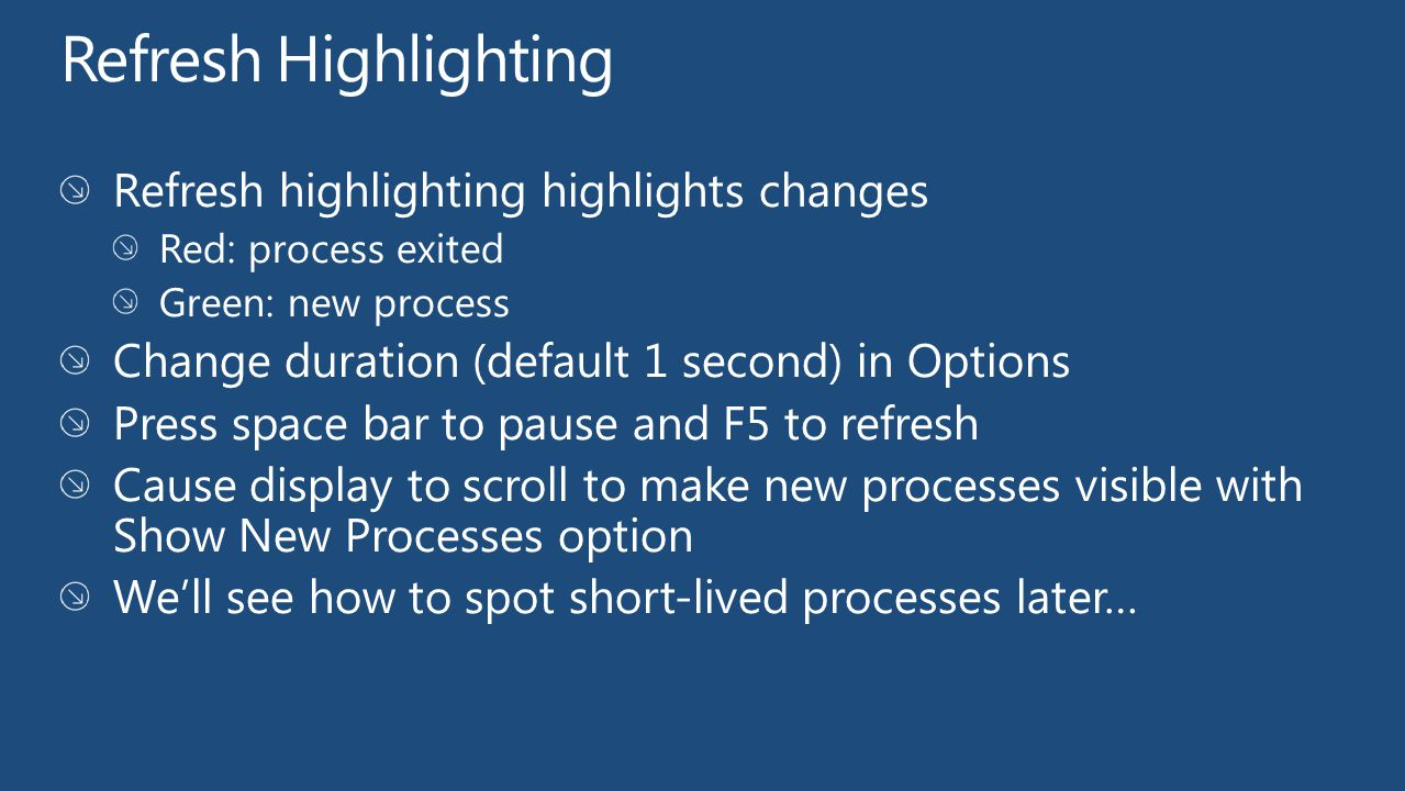 Refresh Highlighting Refresh highlighting highlights changes