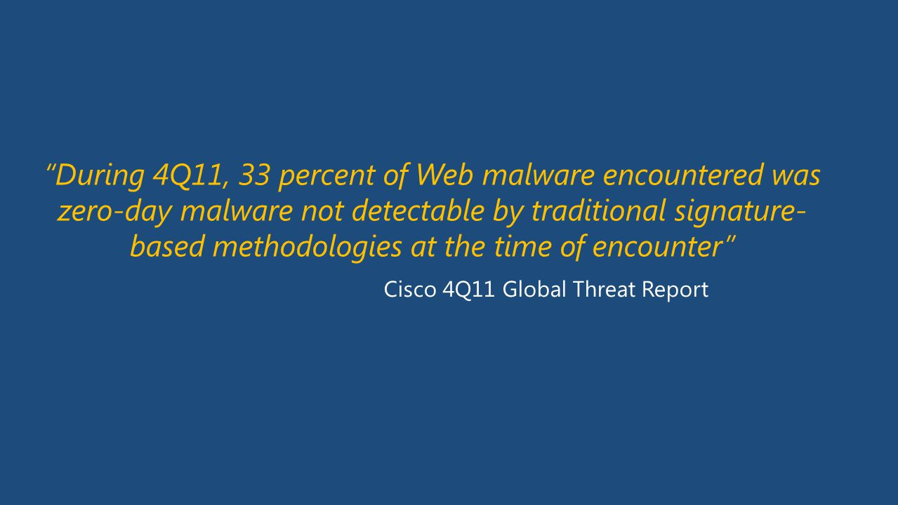 During 4Q11, 33 percent of Web malware encountered was zero-day malware not detectable by traditional signature-based methodologies at the time of encounter
