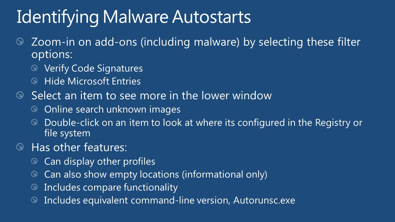 Identifying Malware Autostarts