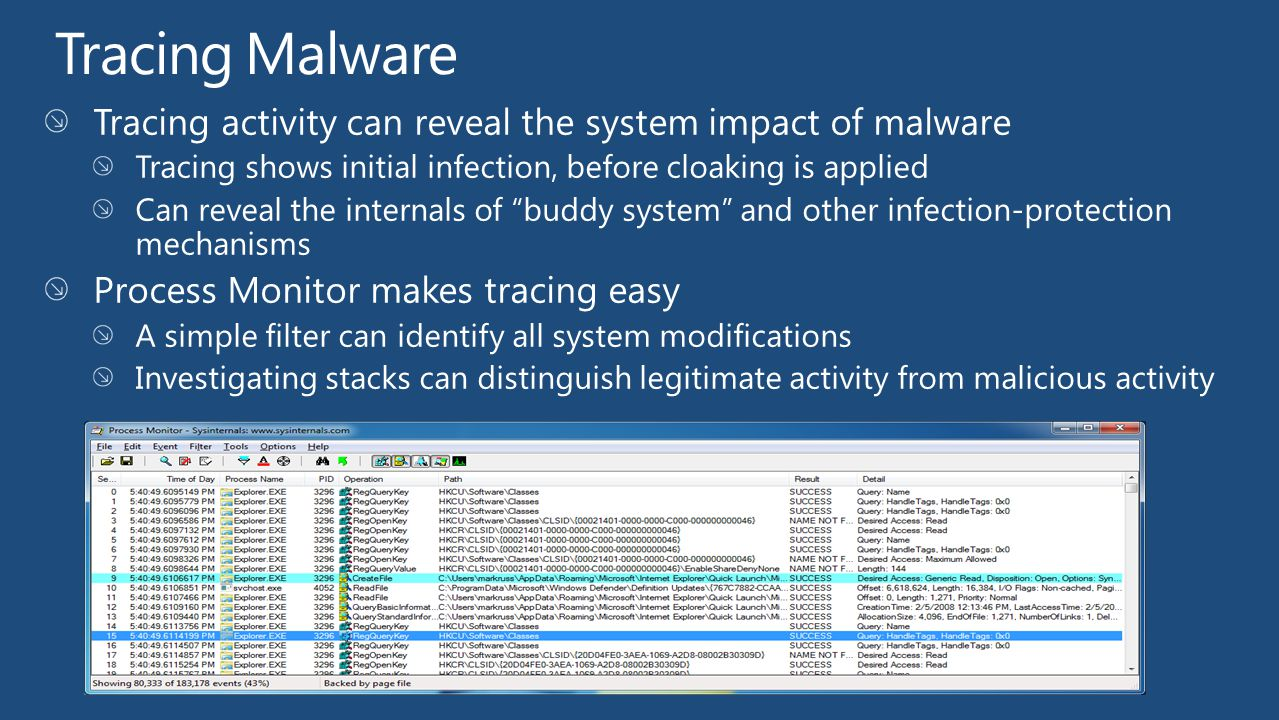 Tracing Malware Tracing activity can reveal the system impact of malware. Tracing shows initial infection, before cloaking is applied.