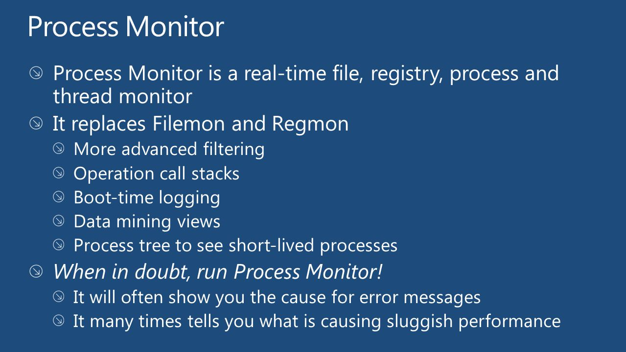 Process Monitor Process Monitor is a real-time file, registry, process and thread monitor. It replaces Filemon and Regmon.